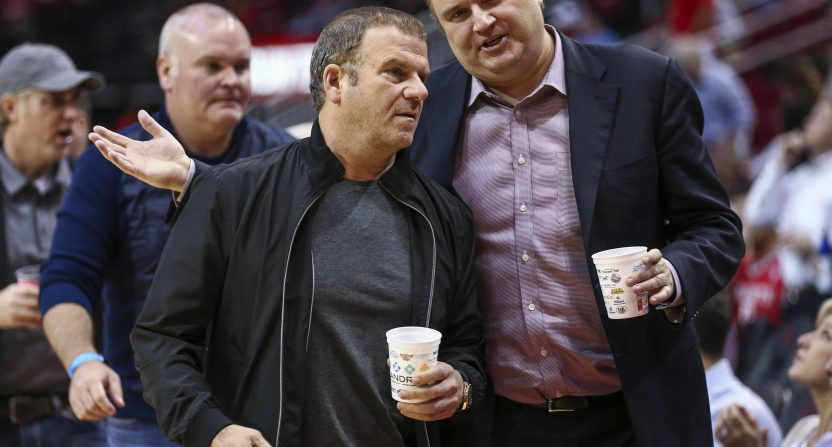 Daryl Morey (R) and Rockets' owner Tilman Fertitta.