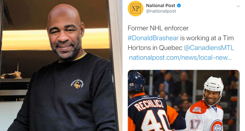 The National Post used a photo of Georges Laraque (R) for a story on Donald Brashear (L).