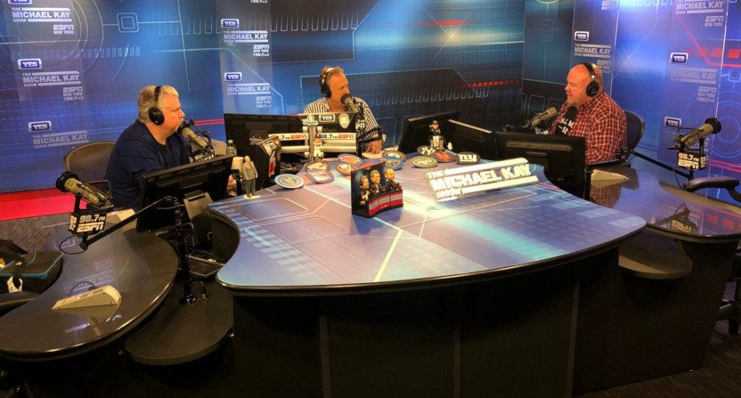 Chris Carlin (right) on The Michael Kay Show with Don La Greca (L) and Kay.