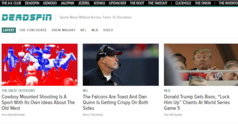 The Deadspin front page on the evening of Oct. 28, 2019.