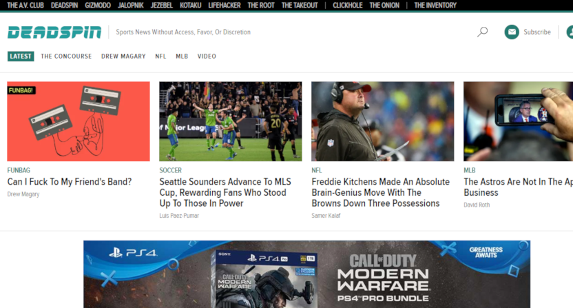 The Deadspin home page on Oct. 30, 2019.