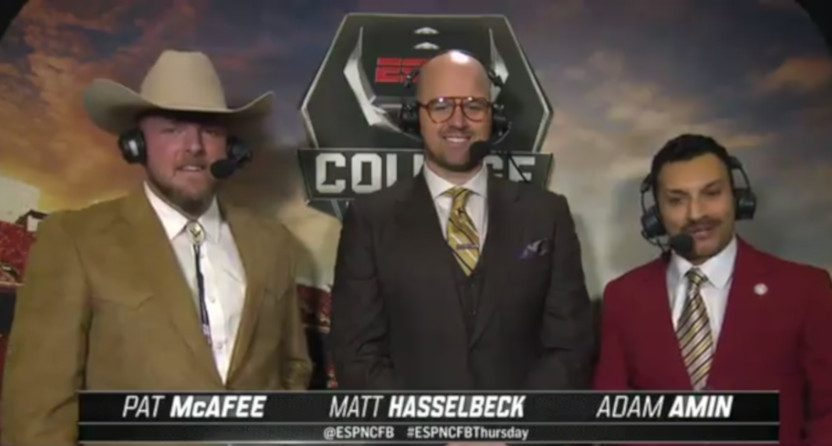 Pat McAfee and ESPN's Thursday night college football crew went full Anchorman for Halloween.