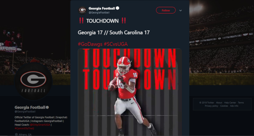Georgia football's final tweet from the game against South Carolina.