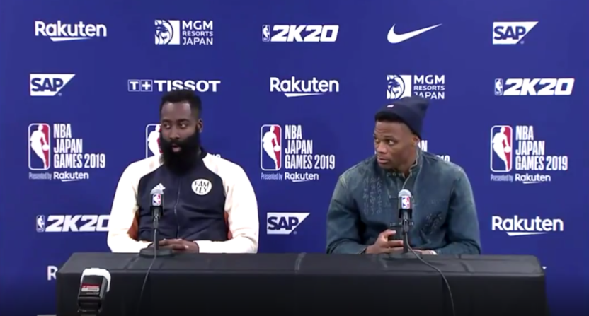 The Rockets' James Harden and Russell Westbrook at a press conference in Japan.