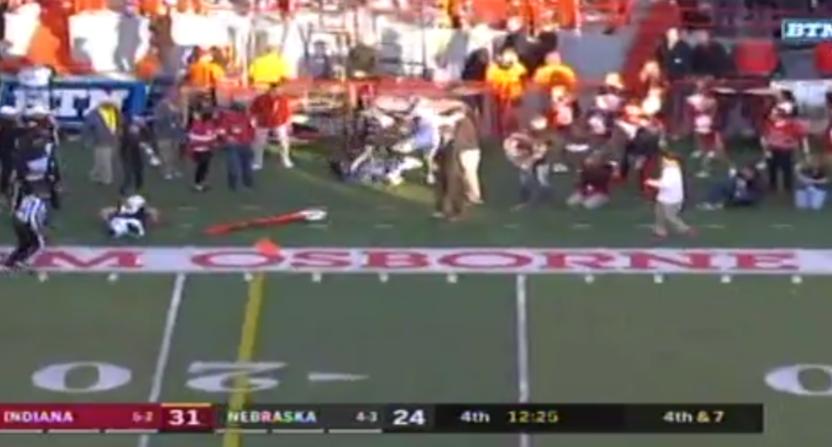 The BTN Indiana-Nebraska broadcast saw a sideline collision.
