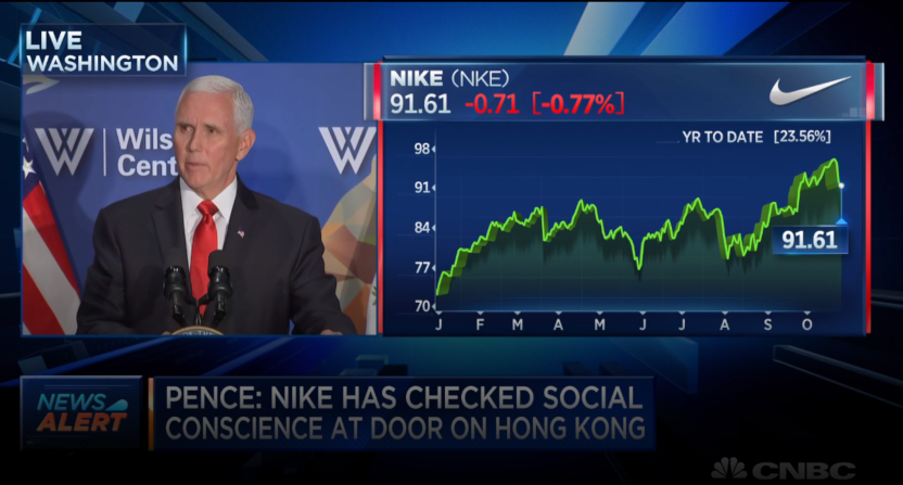 Mike Pence speaking on China and the NBA on Oct. 24, 2019.