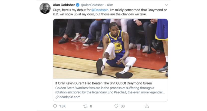 Alan Goldsher left Deadspin less than an hour after his tweet promoting his first piece there got ratioed to hell.