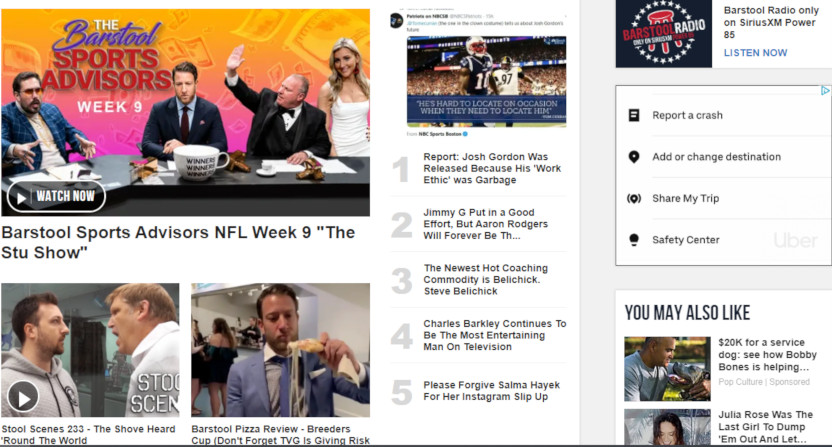 The Barstool Sports homepage on Nov. 1, 2019.