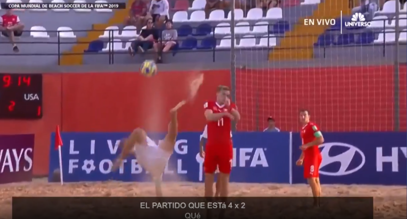 The Universo announcers weren't too excited about this bicycle kick.