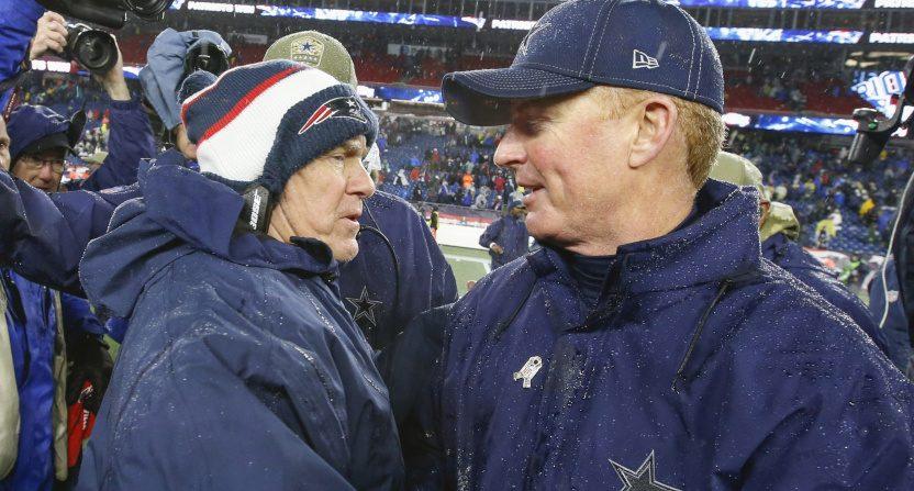 Cowboys' HC Jason Garrett (R) and Patriots' HC Bill Belichick (L) shake hands after a Nov. 24 game.