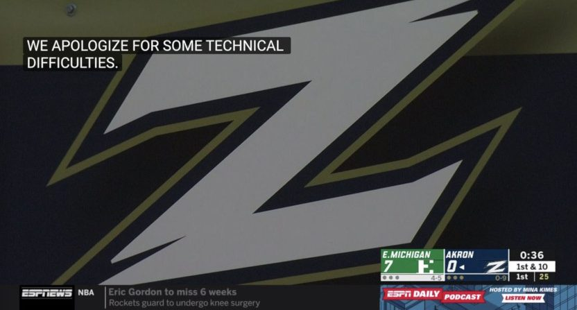 Eastern Michigan and Akron hit technical difficulties Tuesday.