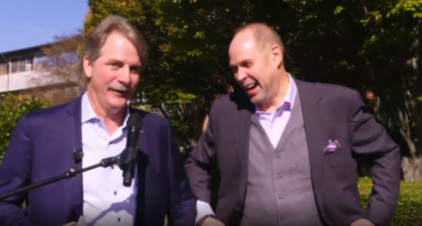 Jeff Foxworthy and Ernie Johnson at a party celebrating Johnson's 30th year at Turner.