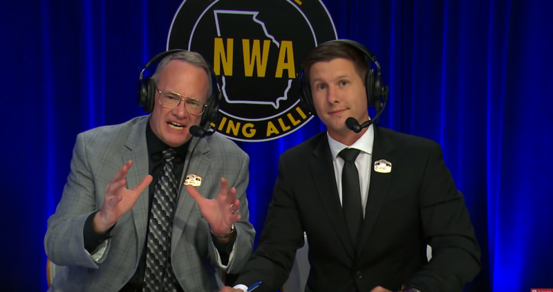 Jim Cornette (L) with Joe Galli on a NWA broadcast.