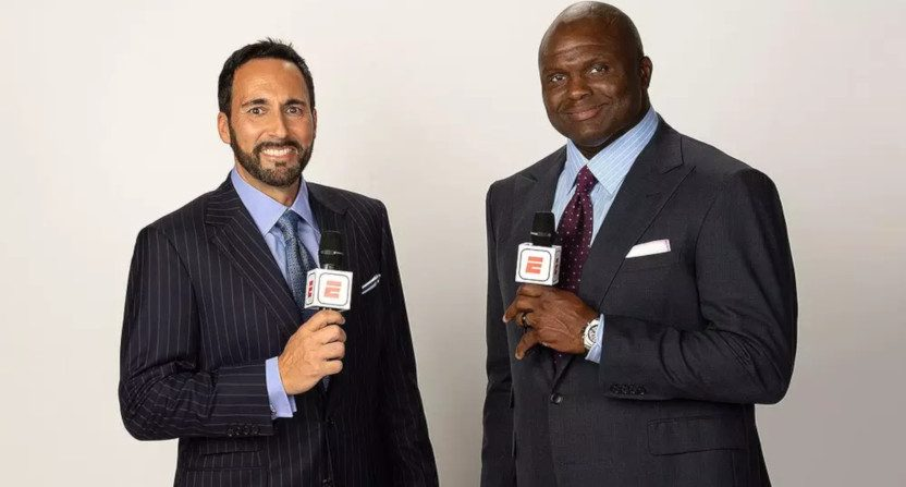 Joe Tessitore and Booger McFarland.