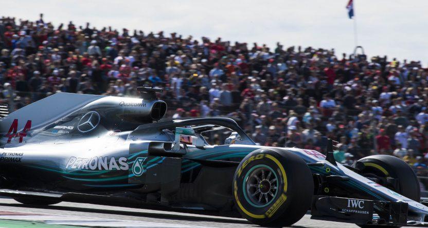 A photo of the Formula 1 2018 U.S. Grand Prix featuring Lewis Hamilton.