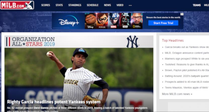 The Minor League Baseball website on Nov. 25, 2019.