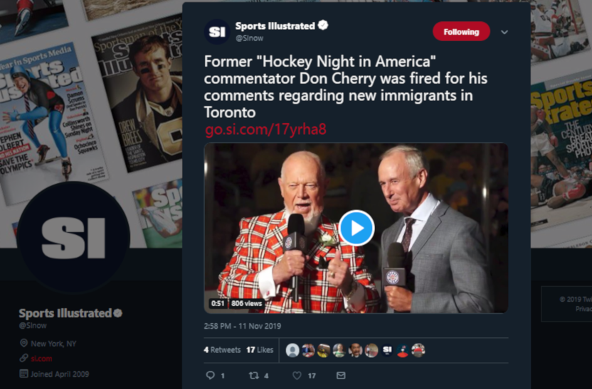 "Sports Illustrated calls Don Cherry a ""Hockey Night In America"" commentator."
