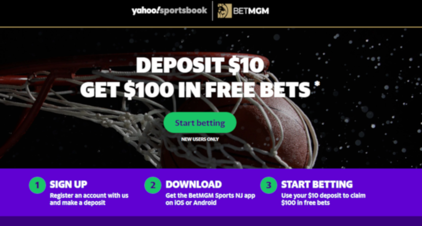 A shot of the new Yahoo Sportsbook/BetMGM landing page.