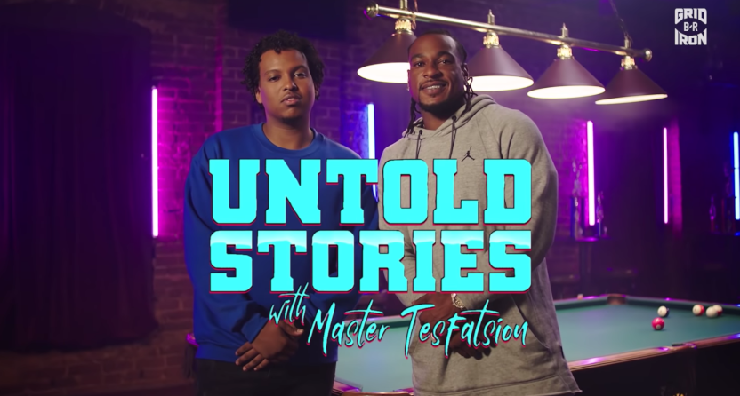 Master Tesfatsion (L) with Percy Harvin on Untold Stories.