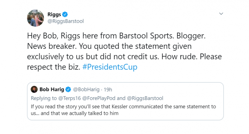 Patrick Reed S Caddie Fight Results In Barstool And Espn Golf Writers Sniping Over Accreditation