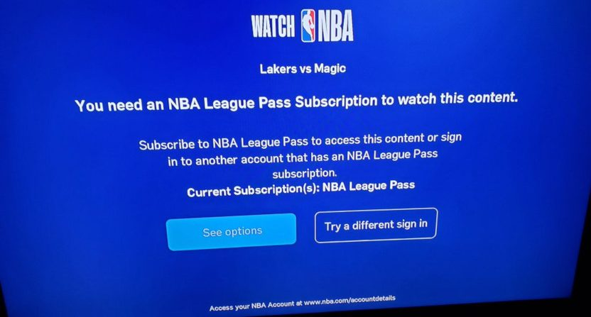 A NBA League Pass error message Wednesday, Dec. 11.