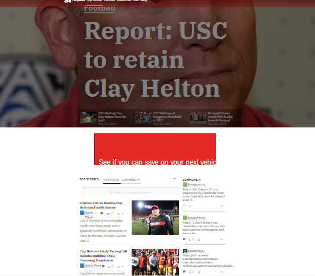 Sports Illustrated's USC page on Dec. 4, 2019.