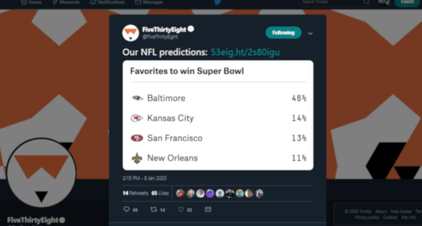 FiveThirtyEight's bad Saints tweet.