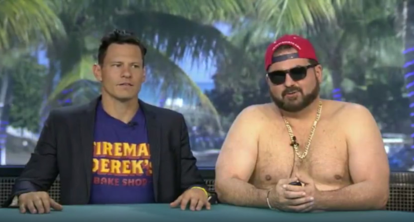 Derek Dietrich and Dan Le Batard (shirtless) on Highly Questionable.