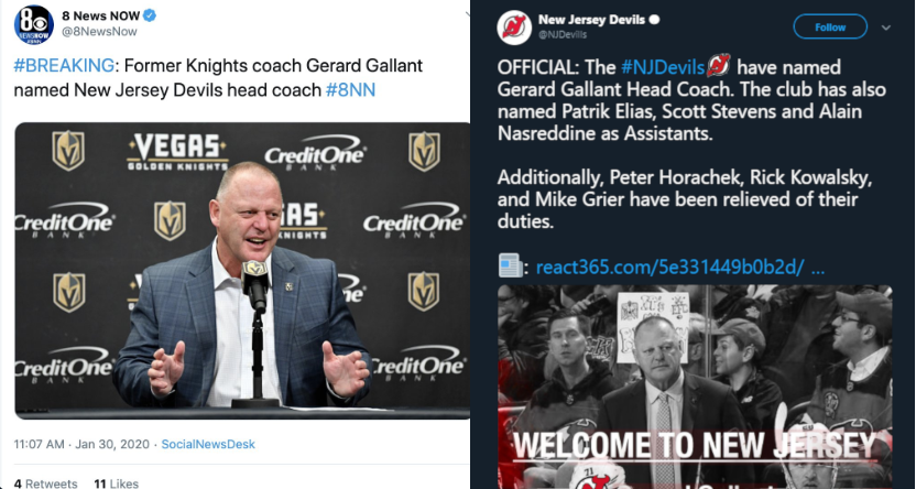 KLAS (left) got fooled by a fake tweet (right) about Gerard Gallant.