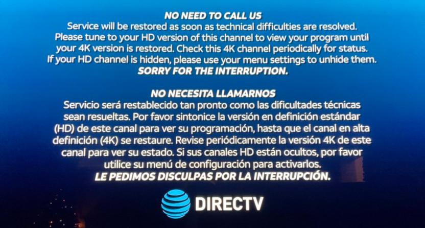 A DirecTV Sugar Bowl error message.