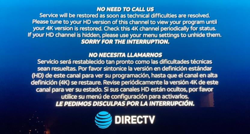 A DirecTV Sugar Bowl error message.