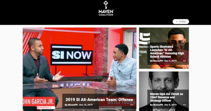 TheMaven homepage with a SI feature.