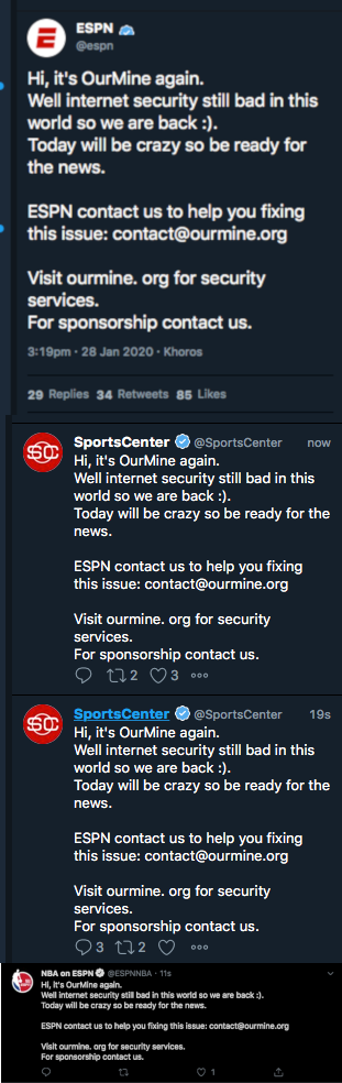 Screenshots of the OurMine hack of ESPN accounts.