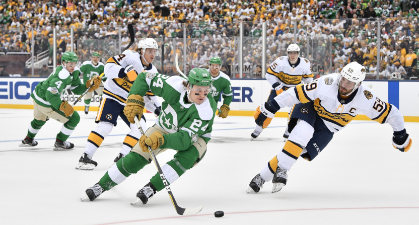 The Winter Classic saw Roope Hintz (L) chased by Roman Josi.