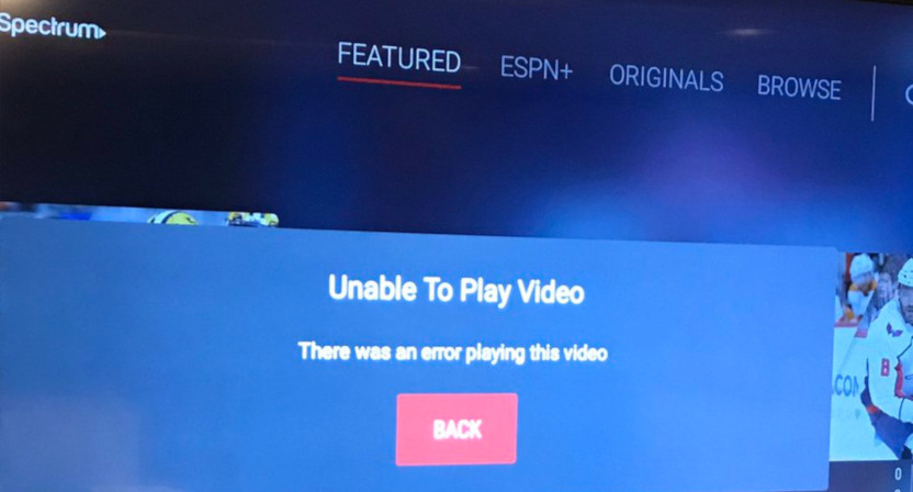 Streaming issues appeared for many Monday night on the ESPN app, including this Spectrum user (@cdipp on Twitter).