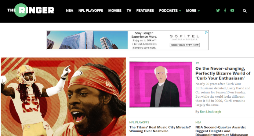 The Ringer's homepage on Jan. 17, 2020.