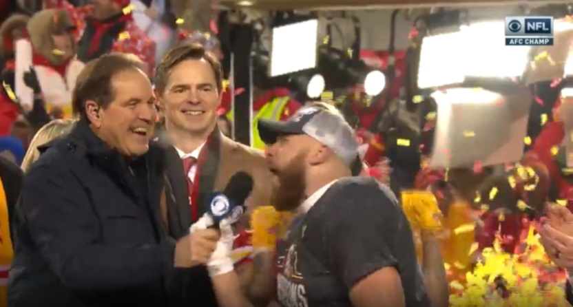 Jim Nantz interviewing Travis Kelce after the 2020 AFC Championship Game.