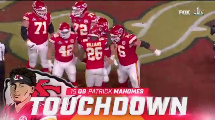 Fox Sports' Super Bowl LIV touchdown graphic.