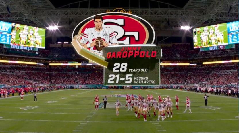 Fox's cartoon for Jimmy Garoppolo in Super Bowl LIV.