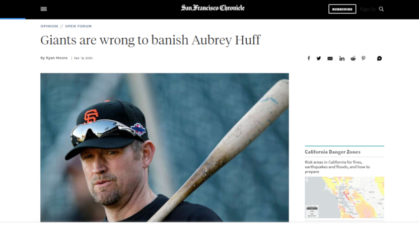 An op-ed on Aubrey Huff that briefly ran in the San Francisco Chronicle, then was pulled.