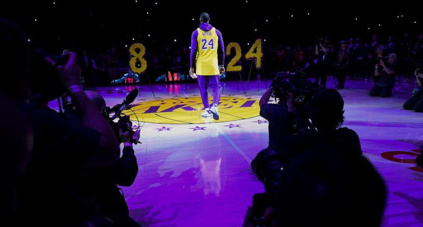 LeBron James at the Lakers' tribute to Kobe.