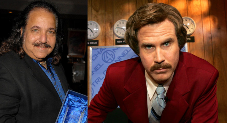 Ron Jeremy (L) and Ron Burgundy.