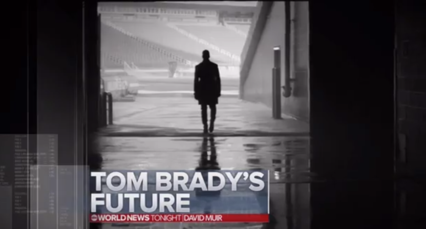 "David Muir of ABC World News did a segment on Tom Brady, and called this Hulu ad photo ""cryptic."""