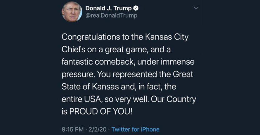 """Donald Trump tweeting about """"the Great State of Kansas"""" after the Chiefs' win."""