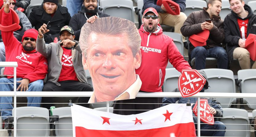 The XFL opening weekend featured this Vince McMahon cutout.