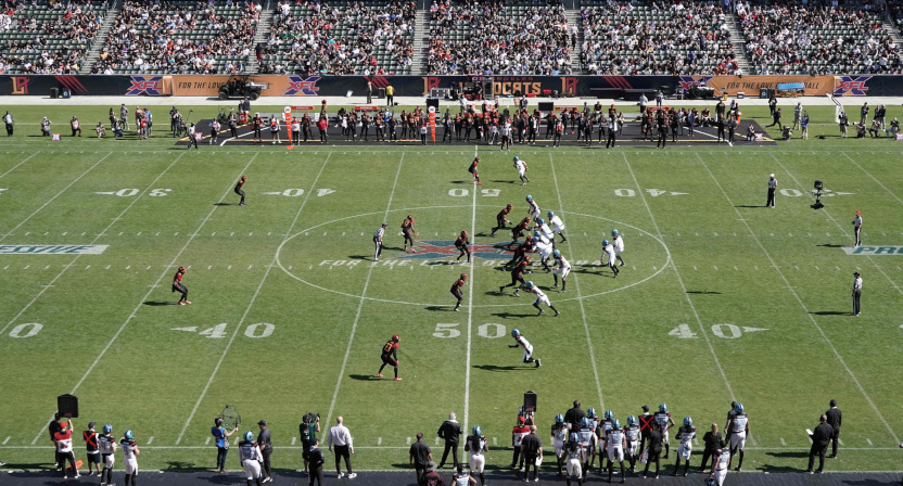 A week 2 XFL game between Dallas and Los Angeles.