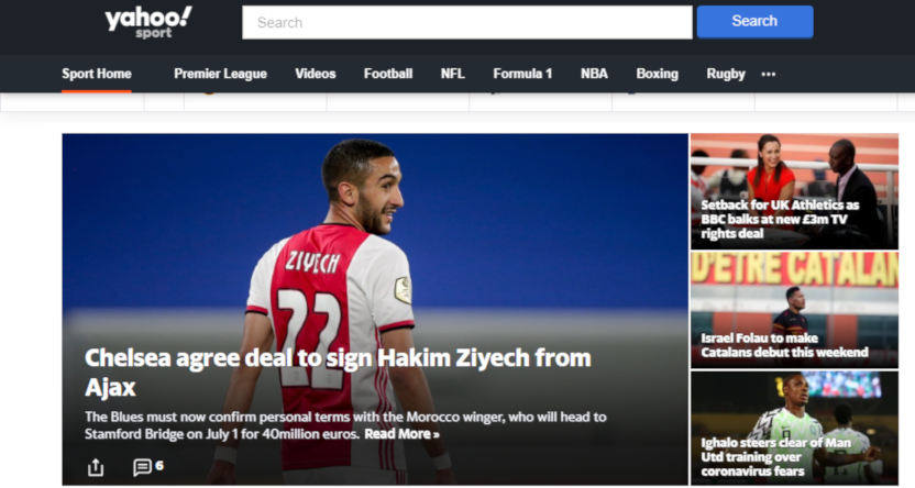 The Yahoo Sport UK homepage on Feb. 13, 2020.