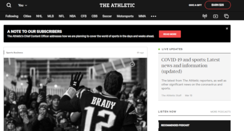 The Athletic homepage on March 19, 2020.