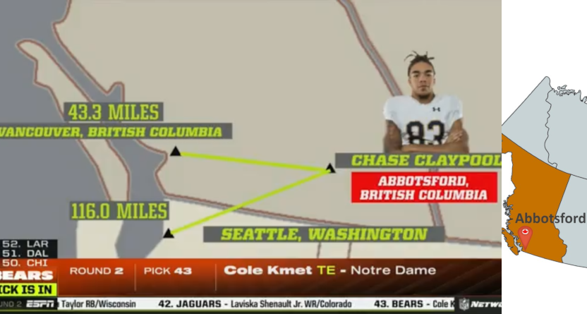 ESPN's Chase Claypool graphic next to an actual B.C. map.