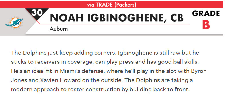 The actual FTW analysis of the Noah Igbinoghene pick.